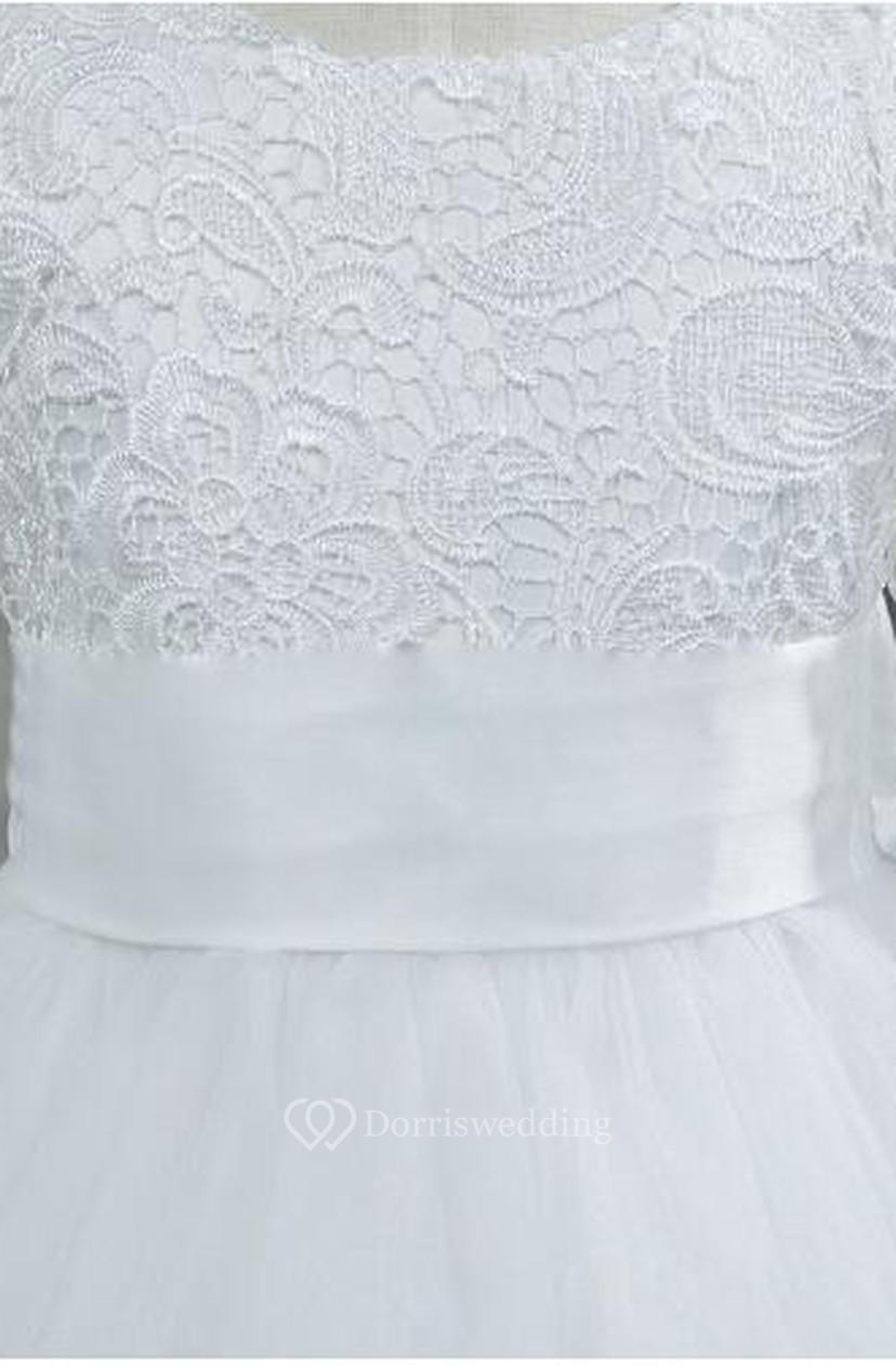 2d8d26677da Lovely Tulle Lace Flower Girl Dress Bowknot Long Sleeve Zipper 401391