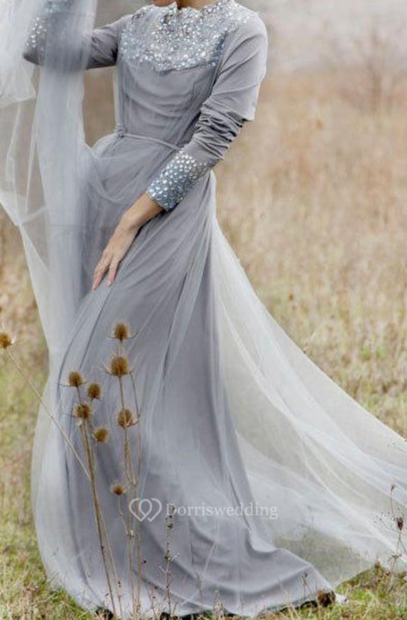 Grey Wedding Dress.Romantic Wedding Grey Wedding Ballet Inspired Wedding Gown Rustic Wedding Lace Wedding Gown Chiffon Dress