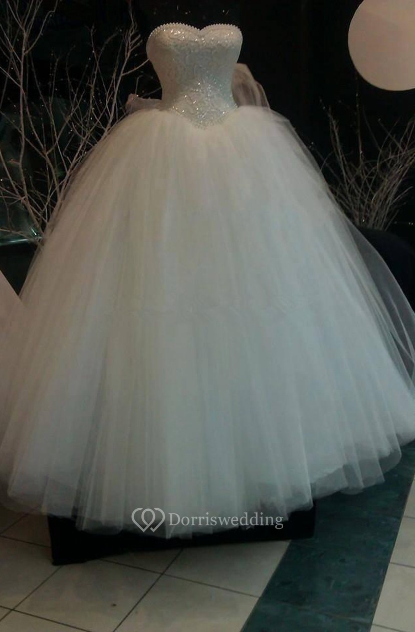 Glamorous Sweetheart Pearls Ball Gown Wedding Dress 2018 Tulle With ...