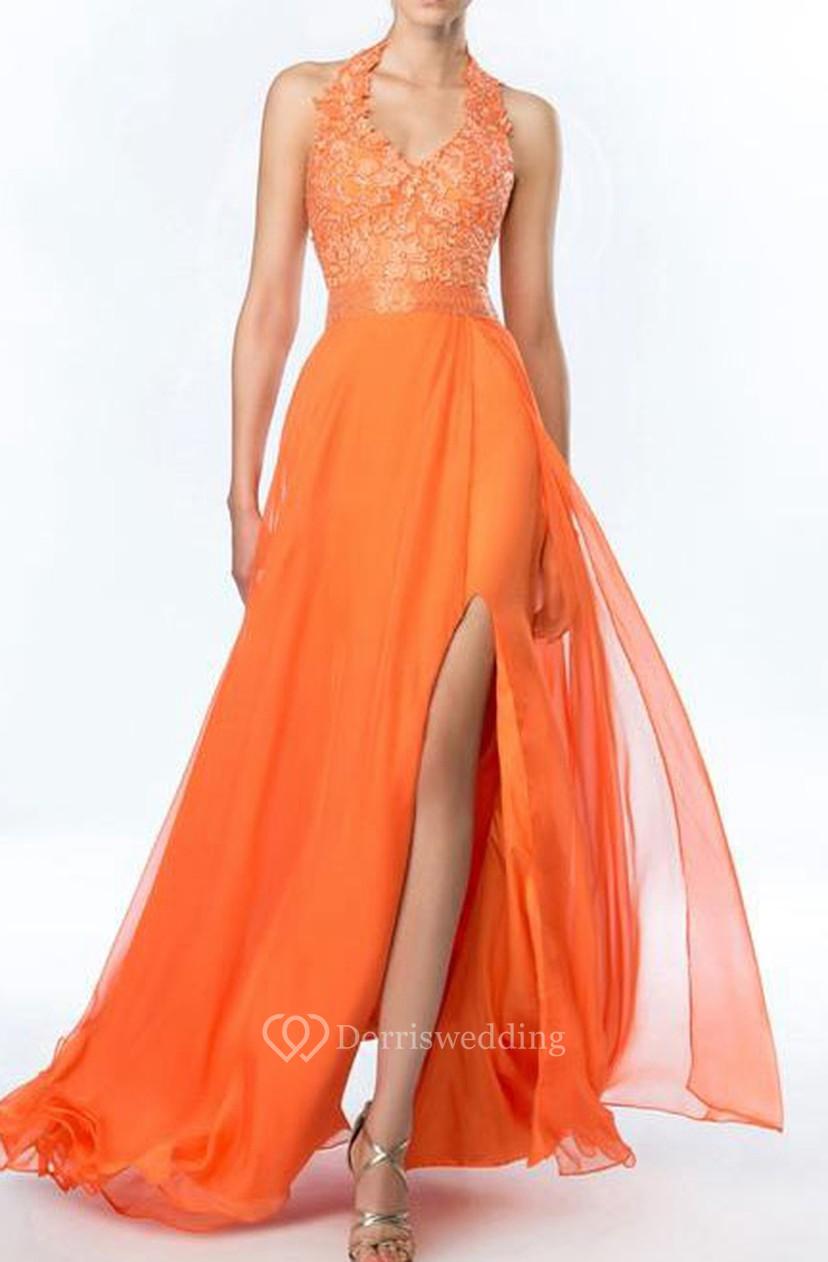 b622fd101f0 Sweet Halter A-Line Beadings Split-Front Prom Dress - Dorris Wedding