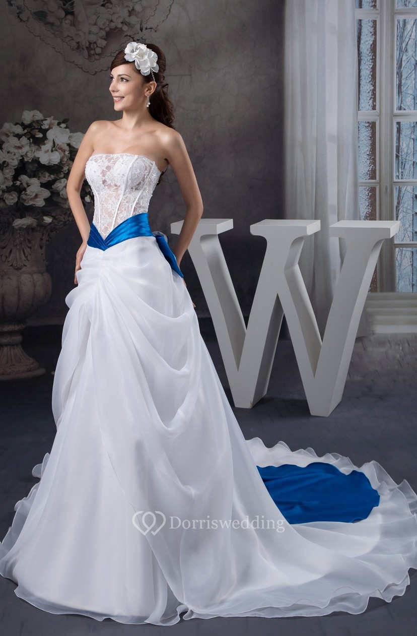 3e6578053a Strapless A-Line Lace Central Draping and Gown With Bow - Dorris Wedding
