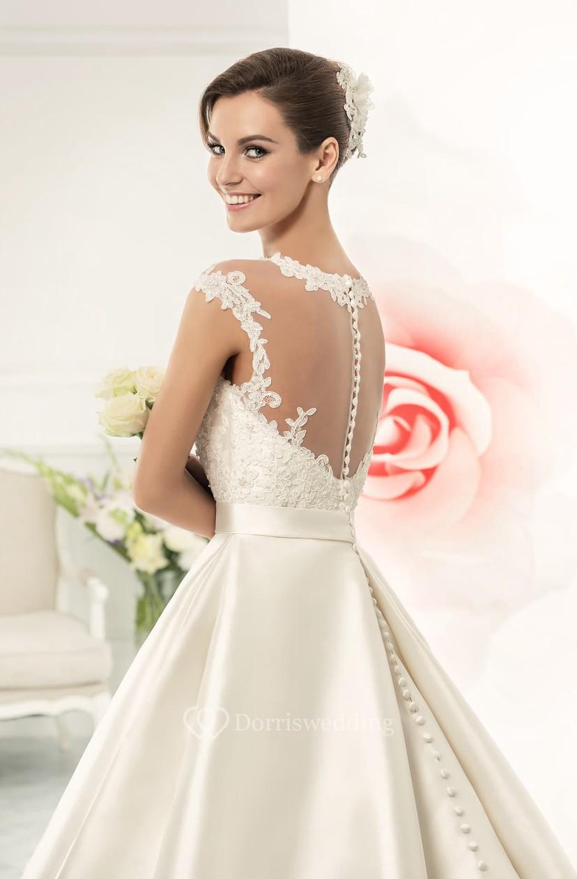 Jeweled Neck Cap Sleeve A Line Satin Wedding Dress With Lace Bodice