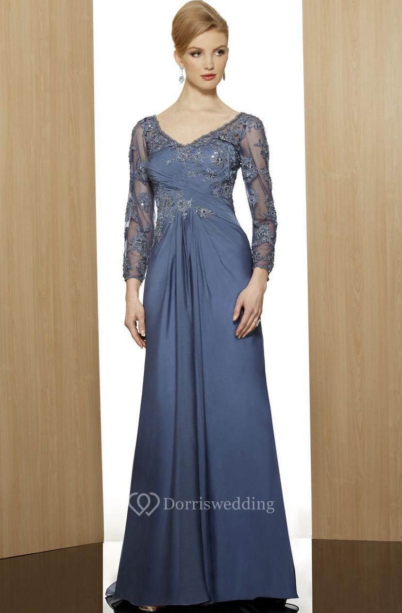 f2739cda9995 Sheath V-Neck Floor-Length 3-4-Sleeve Appliqued Satin Formal Dress With  Beading - Dorris Wedding