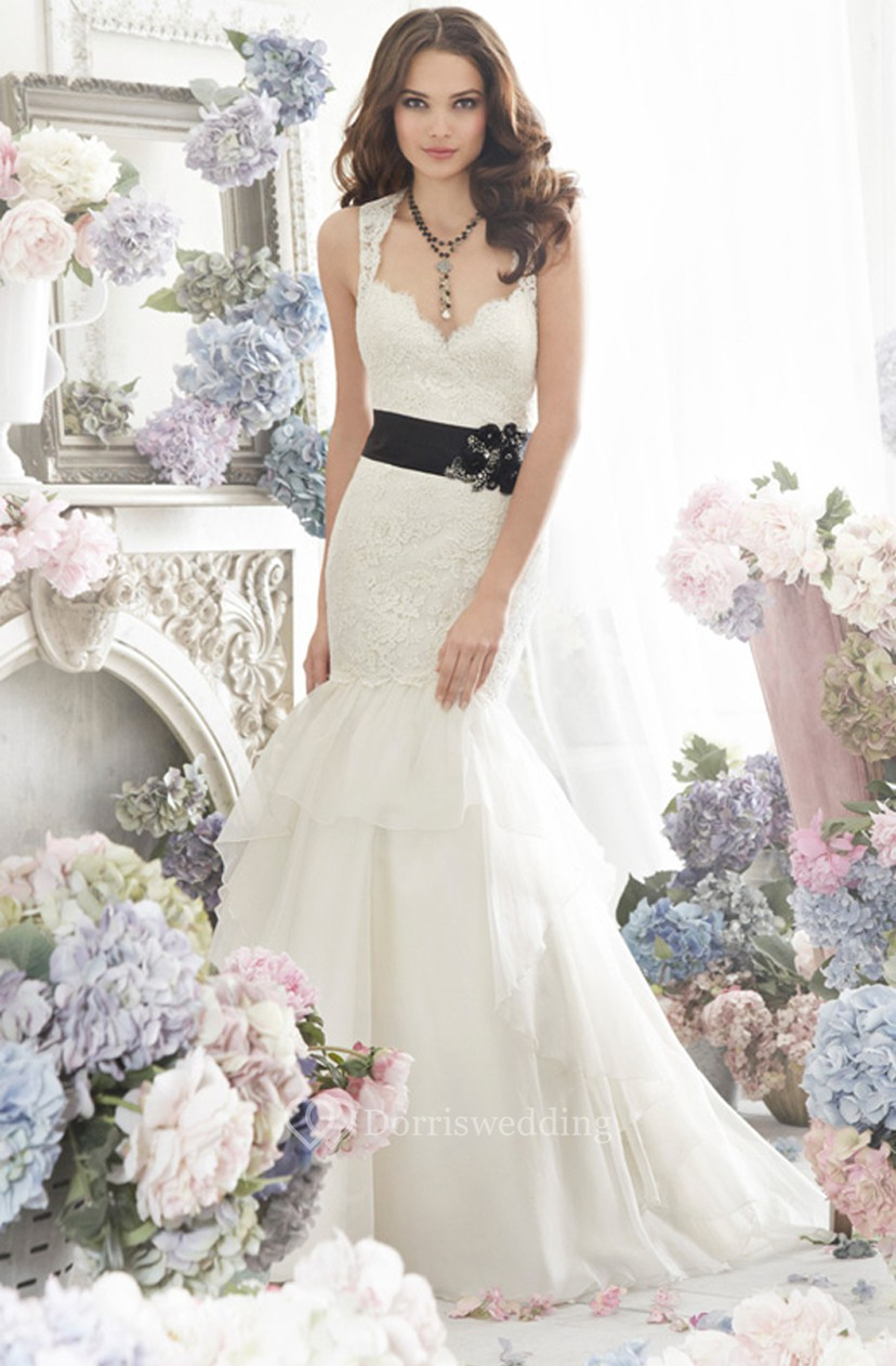 f7145603be7d Alluring Sleeveless Lace Bodice Organza Dress With Bow at Back - Dorris  Wedding