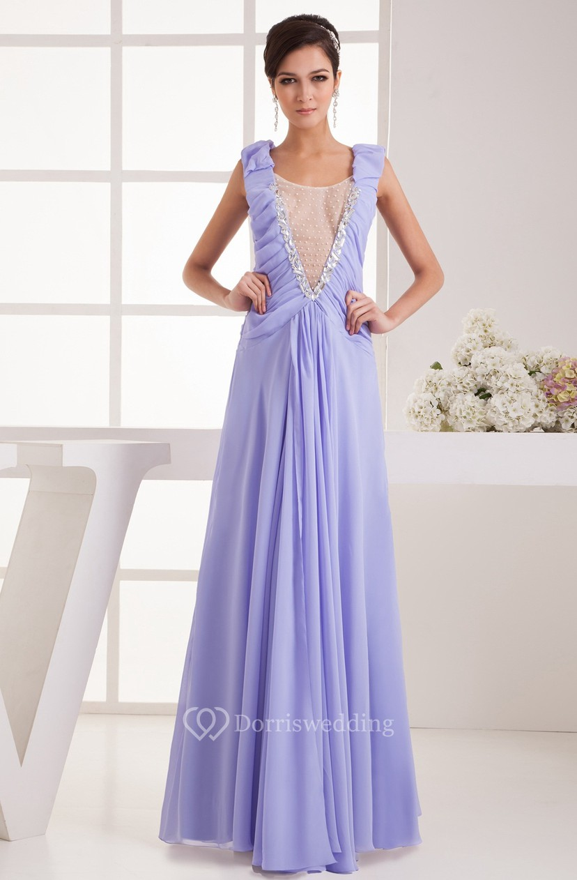 286b273c6f1e Plunged Chiffon Floor-Length Caped-Sleeve Pleats and Dress Illusion -  Dorris Wedding