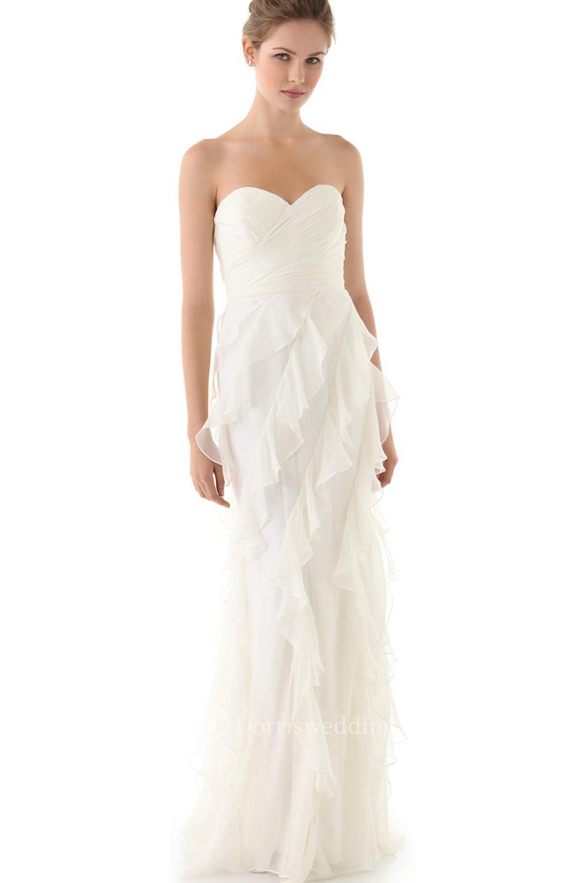 Long Sweetheart Sheath Organza Dress With Feathery Ruffles - Dorris ...