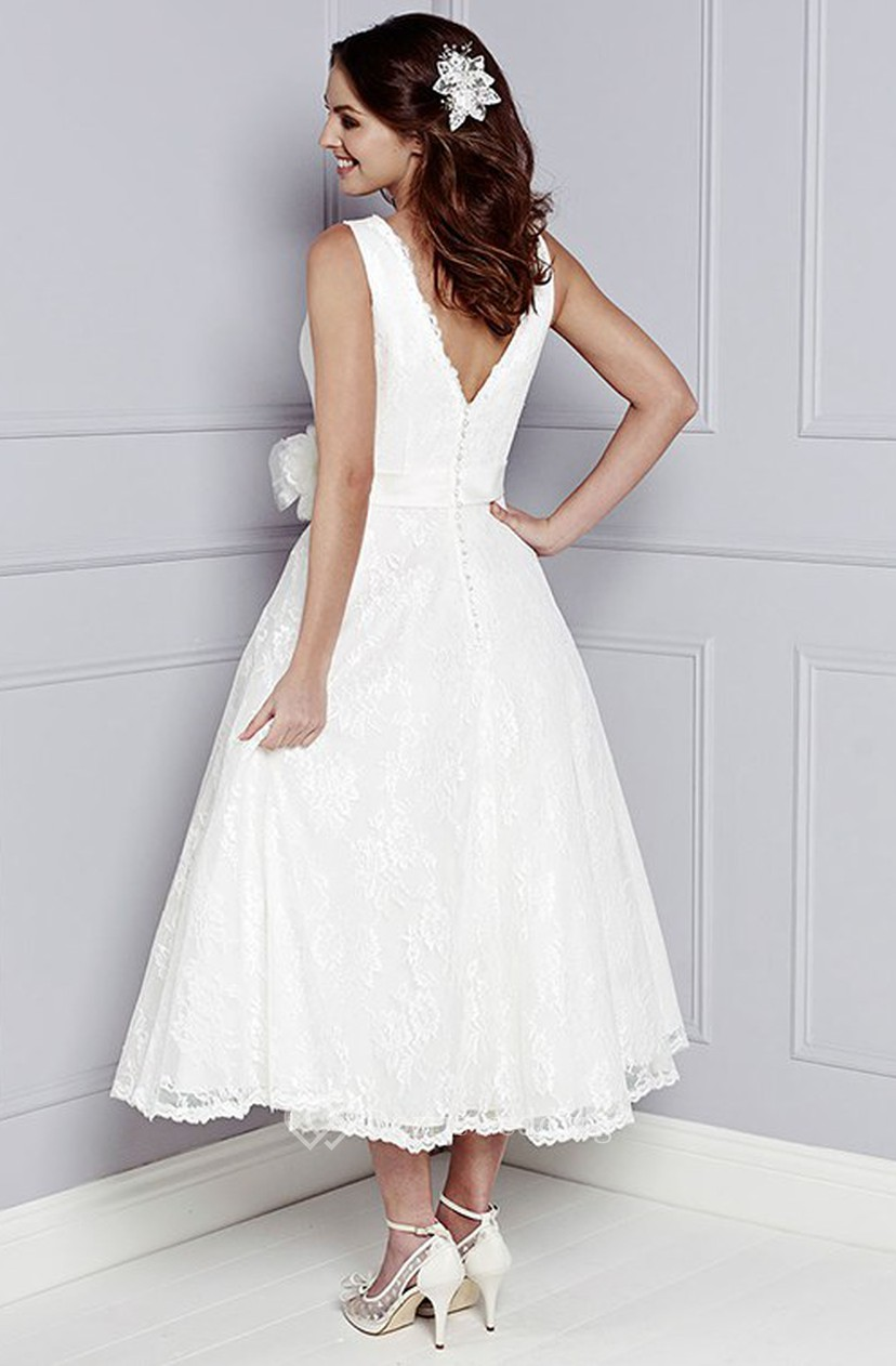 A Line Sleeveless V Neck Appliqued Tea Length Lace Wedding Dress With Flower