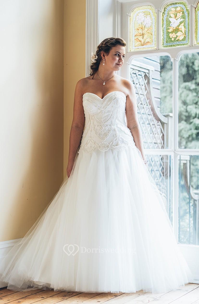 77d893b5916 A-Line Floor-Length Sweetheart Sleeveless Tulle Court Train Backless  Beading Dress - Dorris Wedding