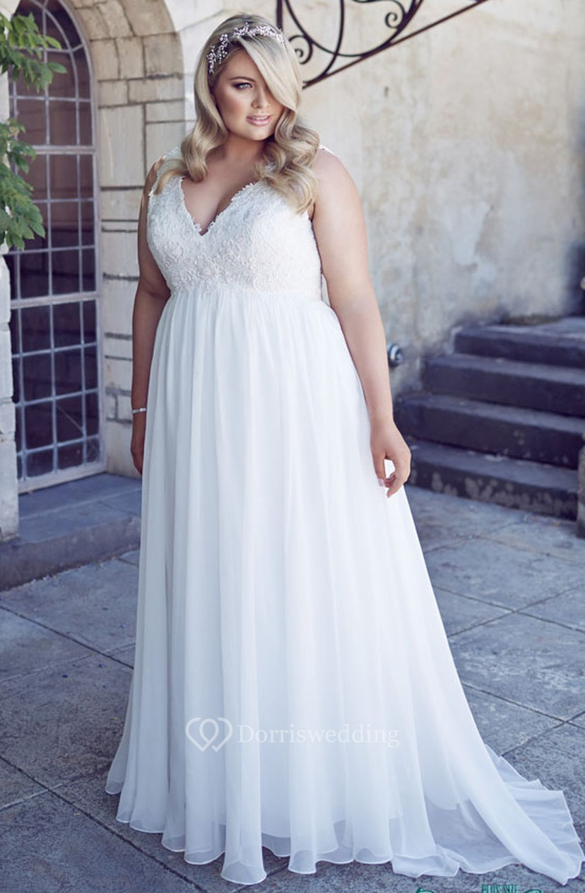 50c23ab7095 V-Neck Floor-Length Sleeveless Chiffon Plus Size Wedding Dress With  Appliques - Dorris Wedding