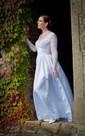 V-Neck Long Sleeve A-Line Taffeta Dress With Beadings and Illusion Back
