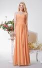 Sweetheart Criss Cross Ruched A-line Long Chiffon Dress