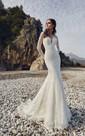 V-neck Backless Long Sleeve Lace Sheath Dress