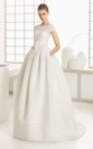 Style Bateau-Neck Gown With Low-V Back And Flower
