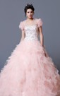 Elegant Crystal Ruffled Quinceanera Dress With Jacket