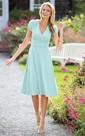 A-line Tea-length V-neck Short Sleeve Ruched Zipper Chiffon Dress