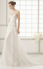 Sweetheart Side Draping Dress With Lace Bodice