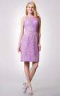 Sleeveless Jewel Neck Short Lace Dress With Keyhole Back