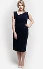 Asymmetric Neck Sheath Jersey Knee Length Dress With Applique