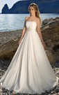 A-Line Floor-Length Strapless Sleeveless Backless Chiffon Dress With Waist Jewellery And Ruching