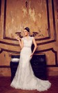 Mermaid Floor-Length V-Neck Cap-Sleeve Illusion Lace Dress With Appliques And Waist Jewellery