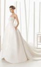 Strapless Shaped Satin Tulip Gown With Pockets