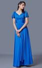 Simplistic Sleeve-draped Long Draping Matte Jersey Dress
