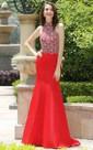 Mermaid Floor-Length Sweep Jewel Sleeveless Taffeta Beading Backless Dress