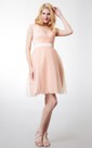 Lace Short Sleeve Pleated Tulle Dress With Satin Belt