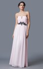 Sleeveless Empire Waist Long Chiffon Dress With Lace Appliqued Belt