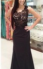 Sexy Lace Appliques Black Prom Dress 2016 One Shoulder Sleeveless