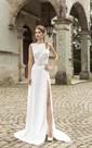 Front-split Sleeveless Low V Back Dress With Crystal Detailing