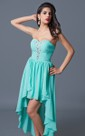 A-Line Sweetheart Strapless Chiffon Hi-Lo Evening Dress With Bead Embroidery