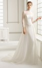 Long-Sleeved High-Neck Dropped Waistline Dress
