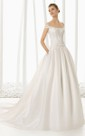 Dropped-Wasitline Double Off Strapped Gown With Lacy Bodice