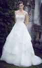 V-Shaped Neckline Chiffon Dress With Appliques