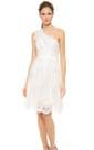 Short One-shoulder A-line Lace Dress With Satin Sash