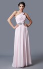 Ruched One Shoulder A-line Chiffon Gown With Beaded Belt