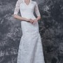 Sophisticated Long Sleeved Scooped Sheath Lace Wedding Dress