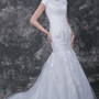 Dramatic Lace Applique and English Net Mermaid Wedding Gown