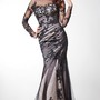 Royal Soft-ruched Lace-Finished Layered Long Formal Trumpet Tulle Dress