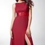 Gorgeous Sleeveless A-line Long Jersey Dress with Bateau-neck and Side Slit