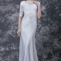 Modesty Lace-paneled Lace Wedding Gown with Satin Chapel Train