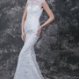 Sophisticated Cap-sleeved High Neck Slim-line Lace and Charmeuse Wedding Gown