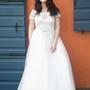 A-Line Floor-Length Scoop Neck Short Sleeve Tulle Appliques Dress