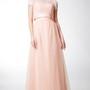 Short Sleeve Bateau Neck Long Tulle Dress With Satin Sash