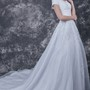 Romantic  Lace-appliqued Organza Wedding Dress With Satin Band
