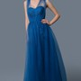 Floor-length V-Neckline Empire Tulle Bridesmaid Dress With Criss-Cross Straps