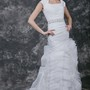 Intricately Cap-sleeved and Ruffled Wedding Gown