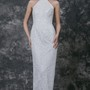 Halter Column Lace Wedding Gown With Watteau Train