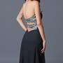 Alluring Strapless A-line Long Dress with Beaded Neckline and Side Split
